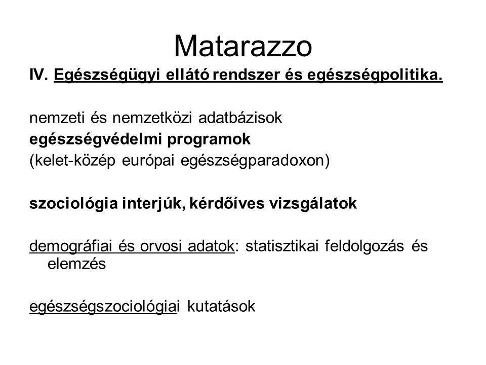 Matarazzo IV. Egészségügyi ellátó rendszer és egészségpolitika.