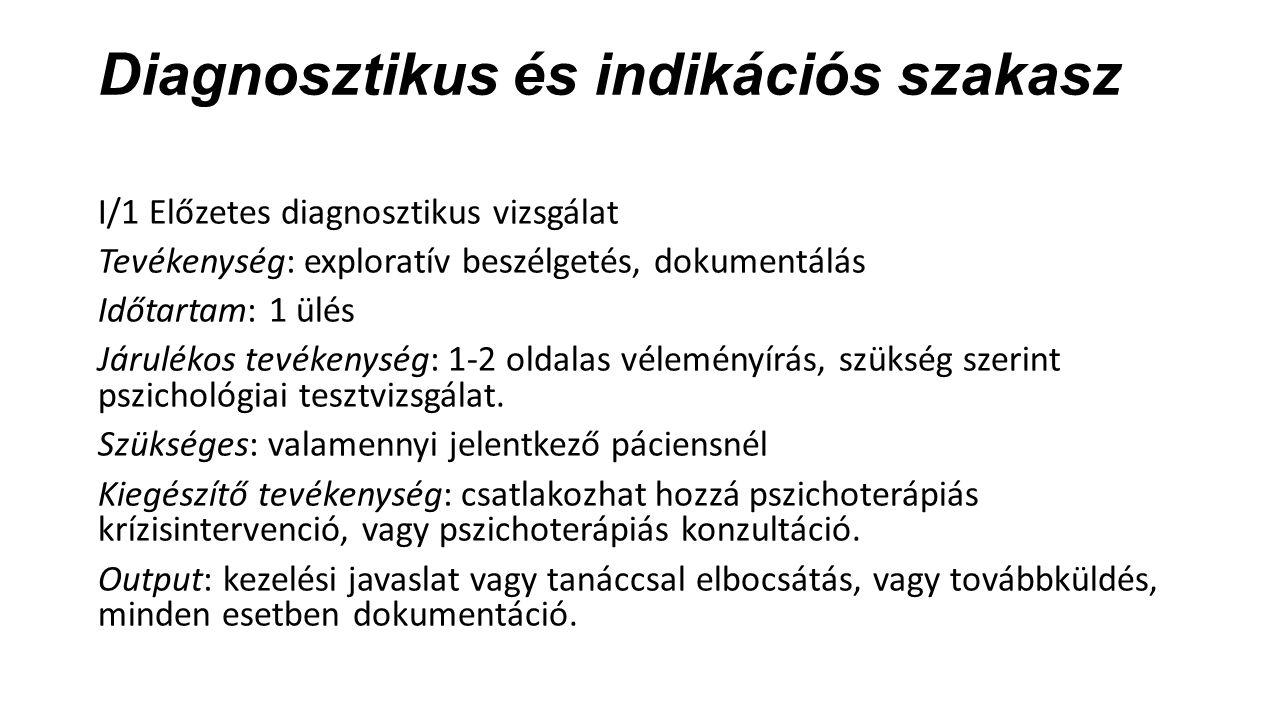 Diagnosztikus és indikációs szakasz