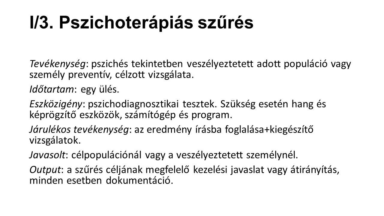 I/3. Pszichoterápiás szűrés