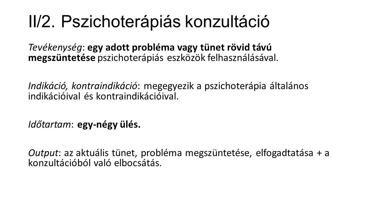 II/2. Pszichoterápiás konzultáció