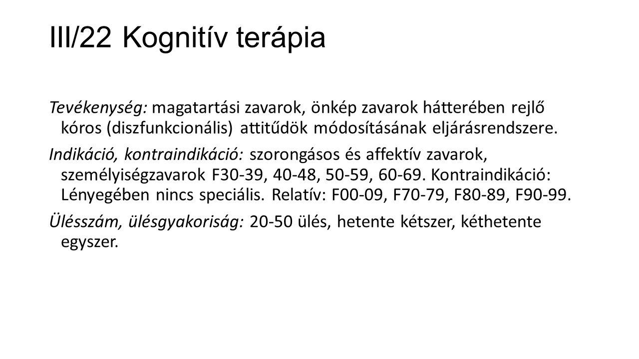 III/22 Kognitív terápia
