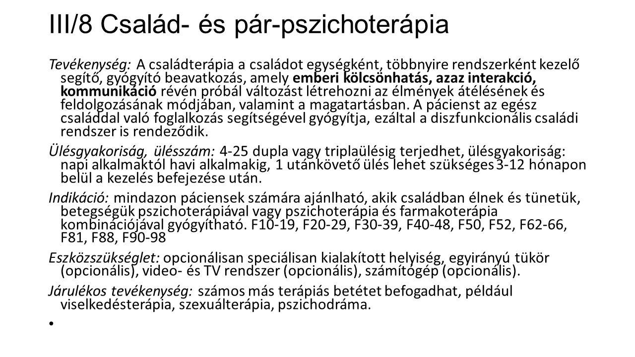 III/8 Család- és pár-pszichoterápia