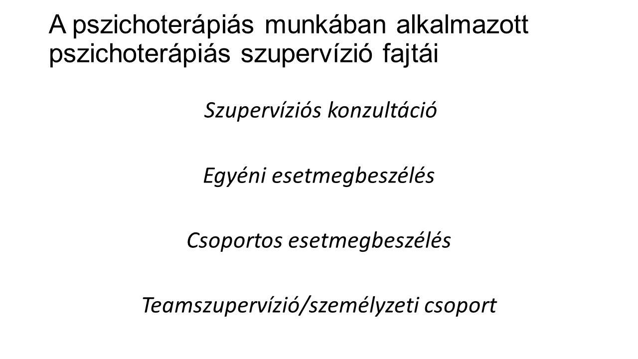 A pszichoterápiás munkában alkalmazott pszichoterápiás szupervízió fajtái
