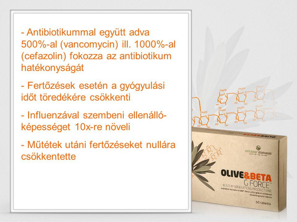 - Antibiotikummal együtt adva 500%-al (vancomycin) ill