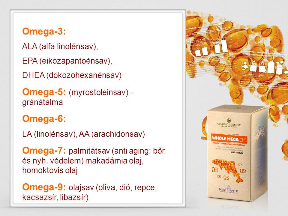 Omega-5: (myrostoleinsav) –gránátalma Omega-6: