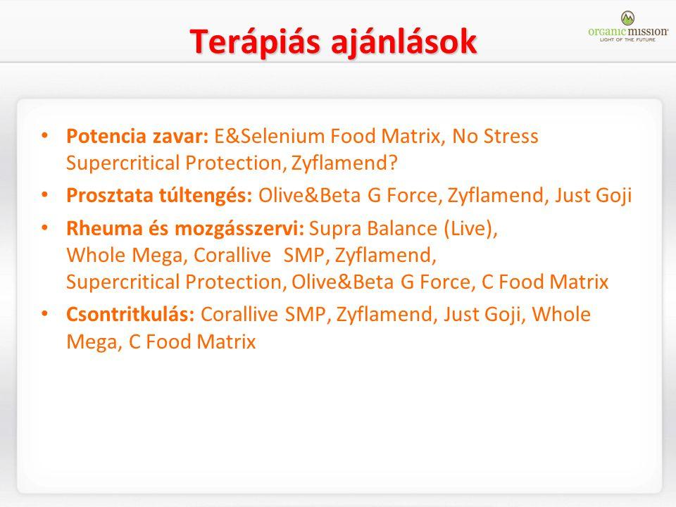 Terápiás ajánlások Potencia zavar: E&Selenium Food Matrix, No Stress Supercritical Protection, Zyflamend