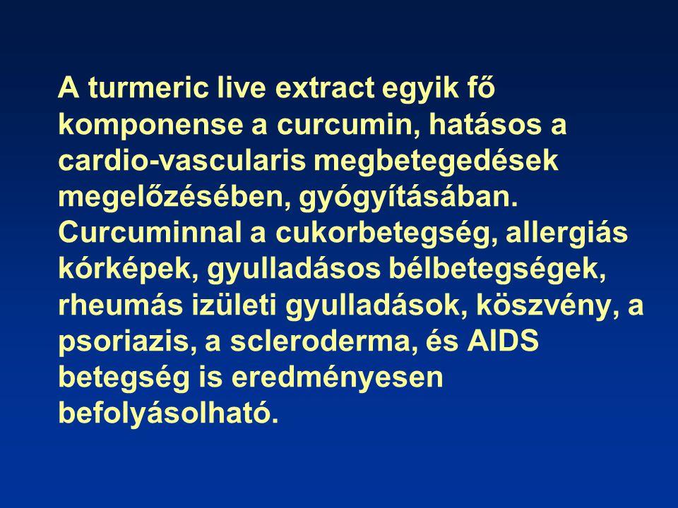 A turmeric live extract egyik fő komponense a curcumin, hatásos a cardio-vascularis megbetegedések megelőzésében, gyógyításában.
