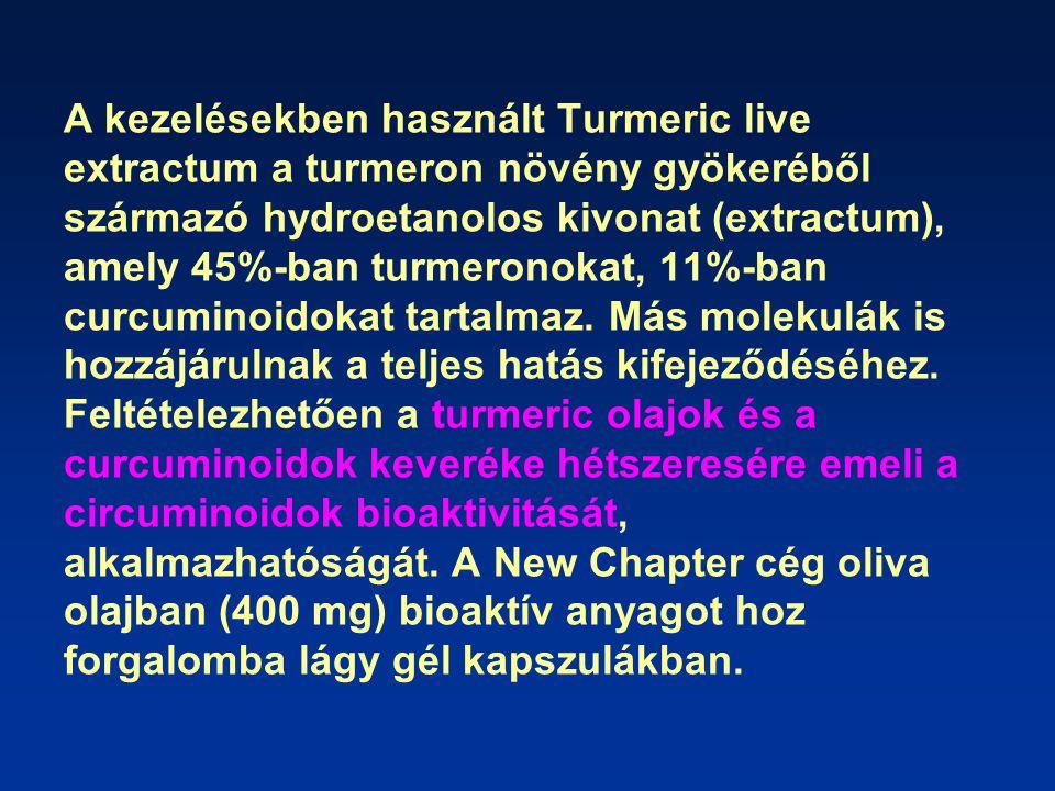 A kezelésekben használt Turmeric live extractum a turmeron növény gyökeréből származó hydroetanolos kivonat (extractum), amely 45%-ban turmeronokat, 11%-ban curcuminoidokat tartalmaz.