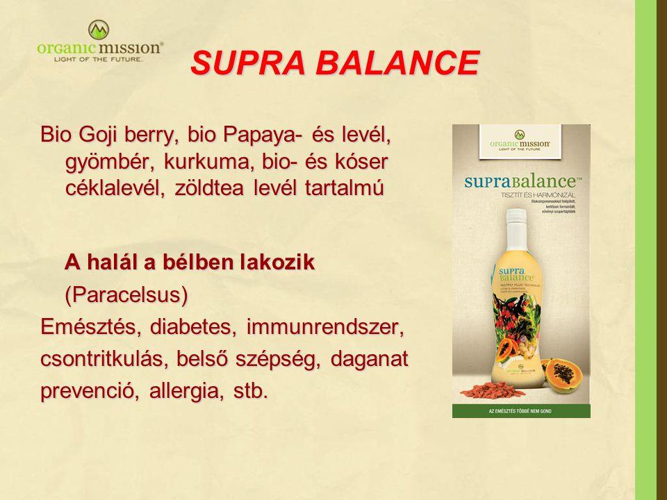 SUPRA BALANCE Bio Goji berry, bio Papaya- és levél, gyömbér, kurkuma, bio- és kóser céklalevél, zöldtea levél tartalmú.