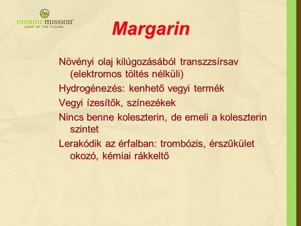 Margarin Növényi olaj kilúgozásából transzzsírsav (elektromos töltés nélküli) Hydrogénezés: kenhető vegyi termék.