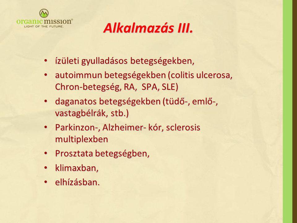 Alkalmazás III. ízületi gyulladásos betegségekben,