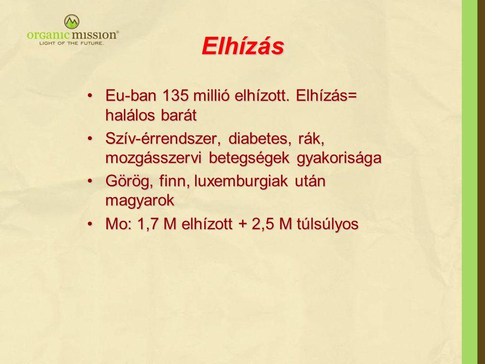 Elhízás Eu-ban 135 millió elhízott. Elhízás= halálos barát