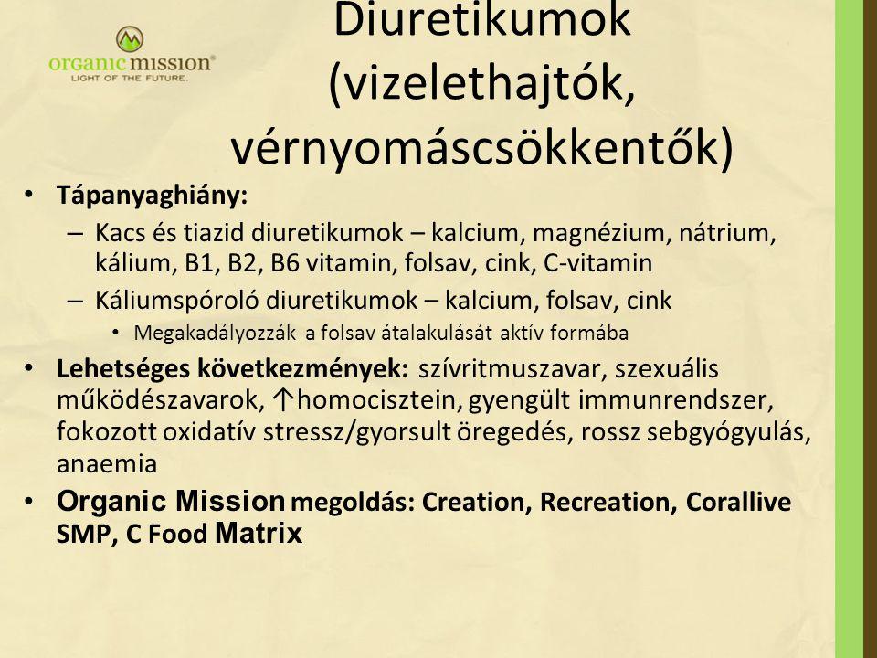 Diuretikumok (vizelethajtók, vérnyomáscsökkentők)