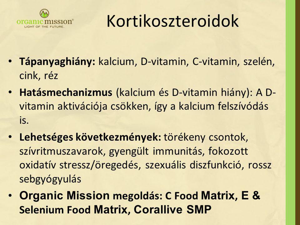 Kortikoszteroidok Tápanyaghiány: kalcium, D-vitamin, C-vitamin, szelén, cink, réz.
