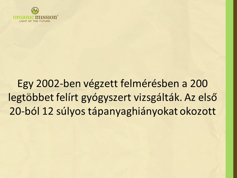 Egy 2002-ben végzett felmérésben a 200 legtöbbet felírt gyógyszert vizsgálták.