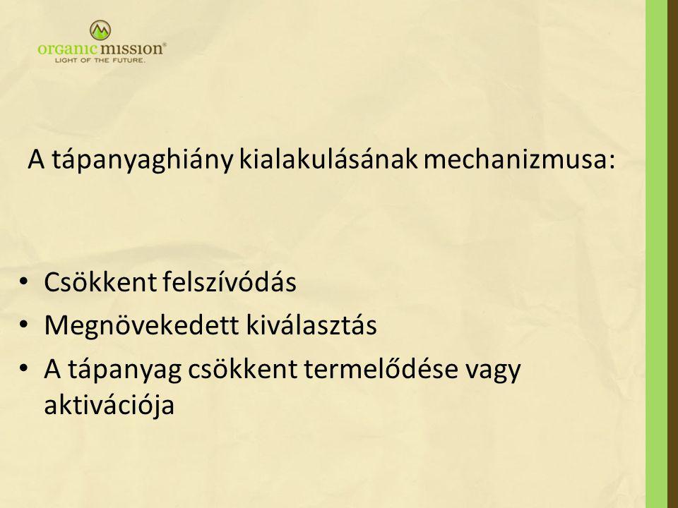 A tápanyaghiány kialakulásának mechanizmusa: