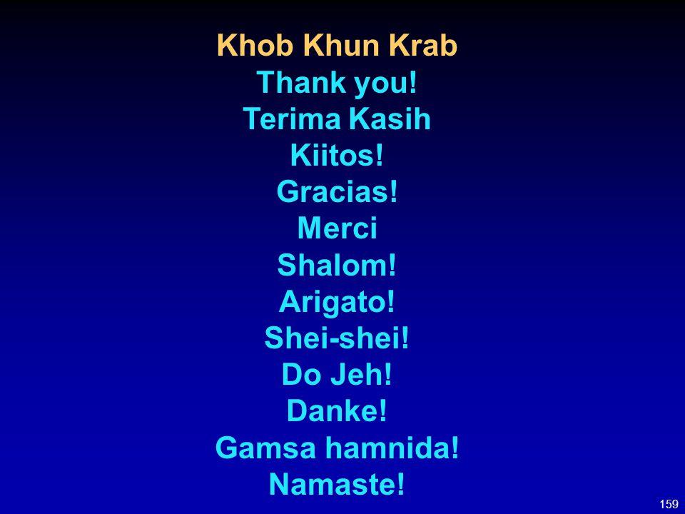 Khob Khun Krab Thank you! Terima Kasih Kiitos! Gracias! Merci Shalom!