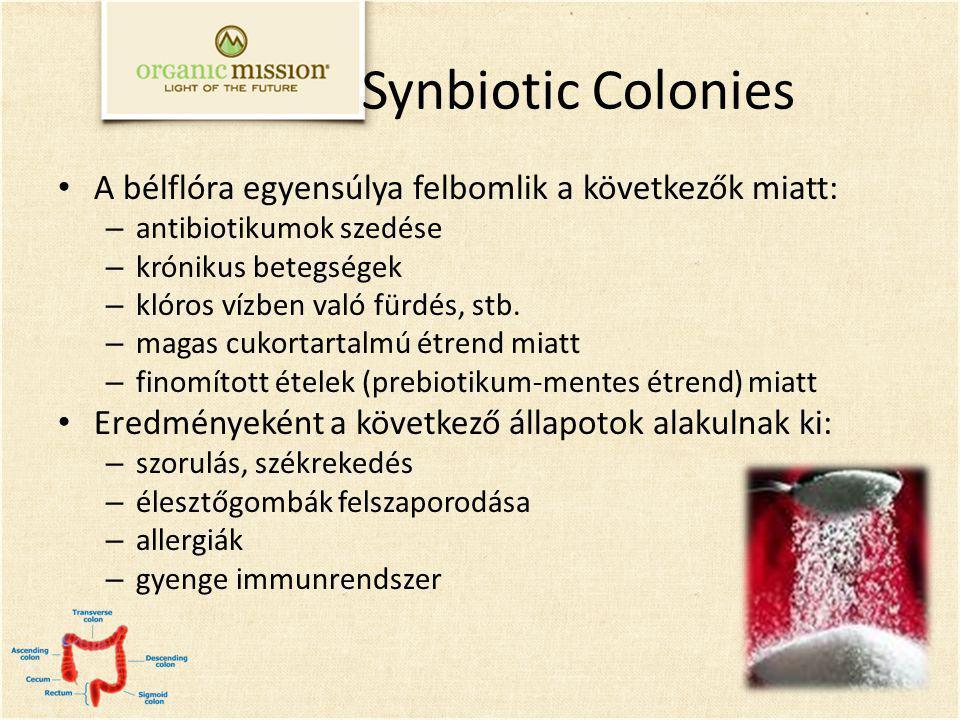 Synbiotic Colonies A bélflóra egyensúlya felbomlik a következők miatt: