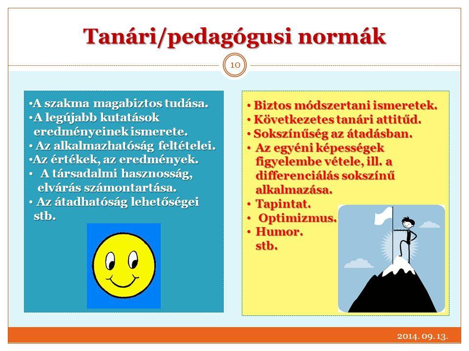 Tanári/pedagógusi normák