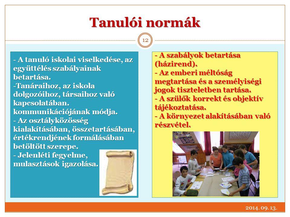 Tanulói normák A szabályok betartása (házirend).