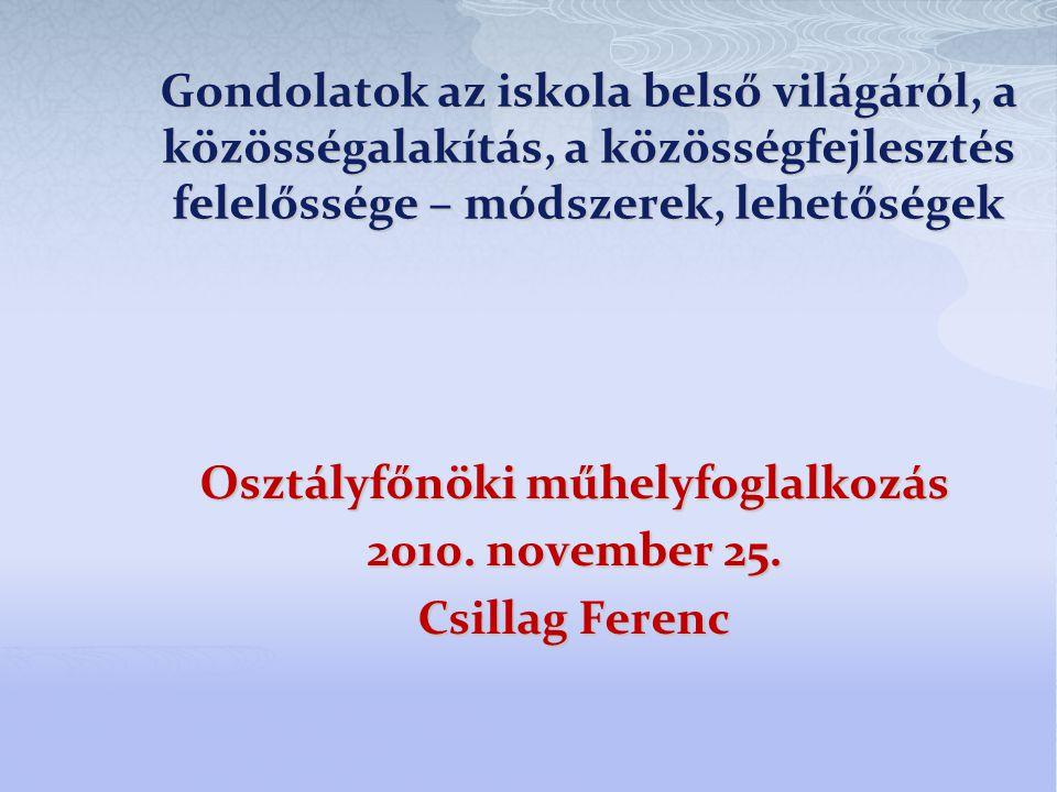 Osztályfőnöki műhelyfoglalkozás 2010. november 25. Csillag Ferenc
