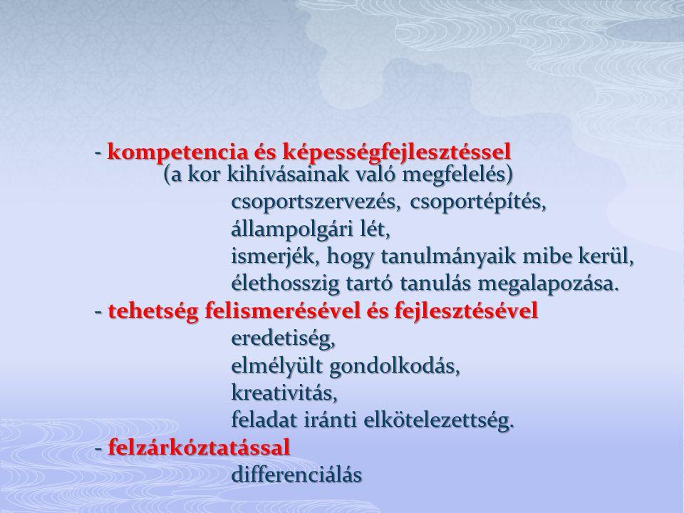 - kompetencia és képességfejlesztéssel