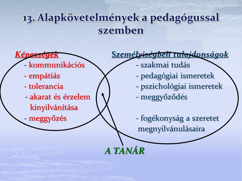 13. Alapkövetelmények a pedagógussal szemben