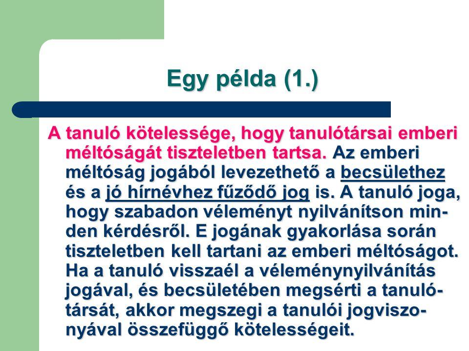 Egy példa (1.)