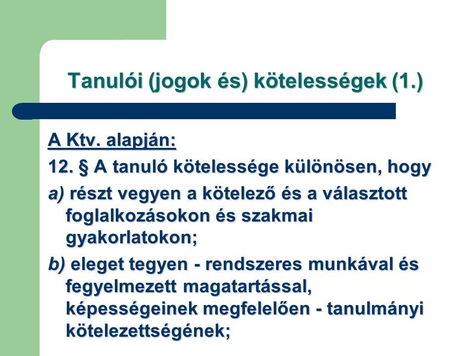 Tanulói (jogok és) kötelességek (1.)