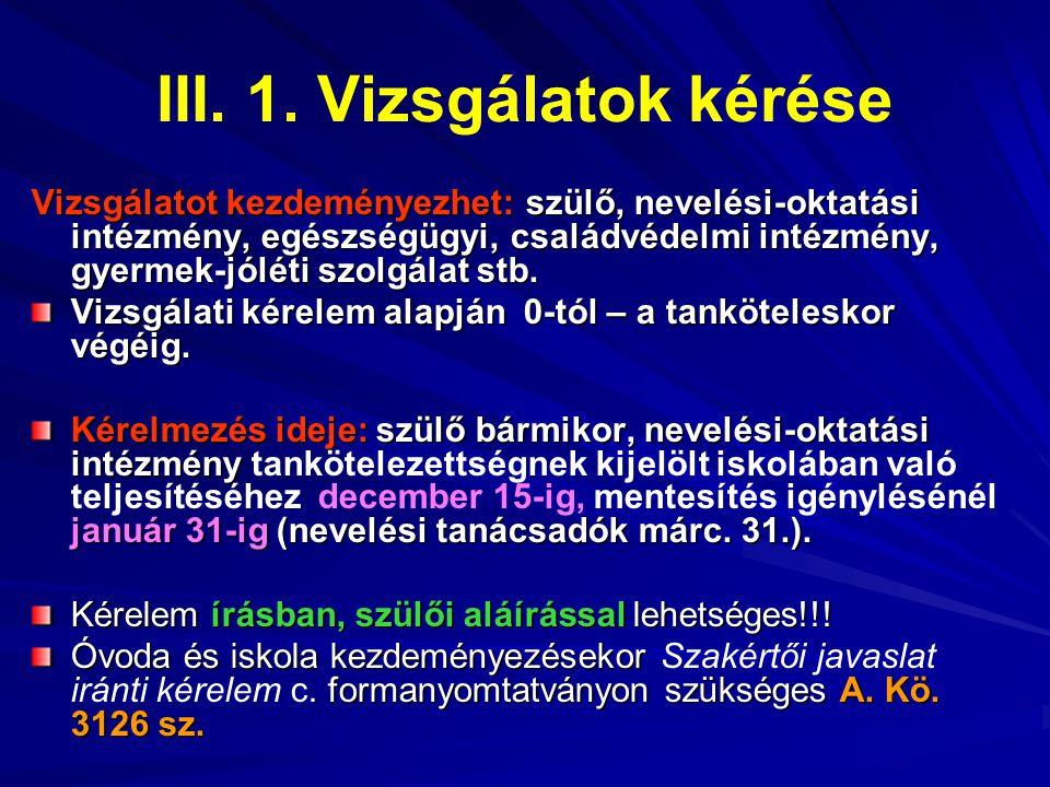 III. 1. Vizsgálatok kérése