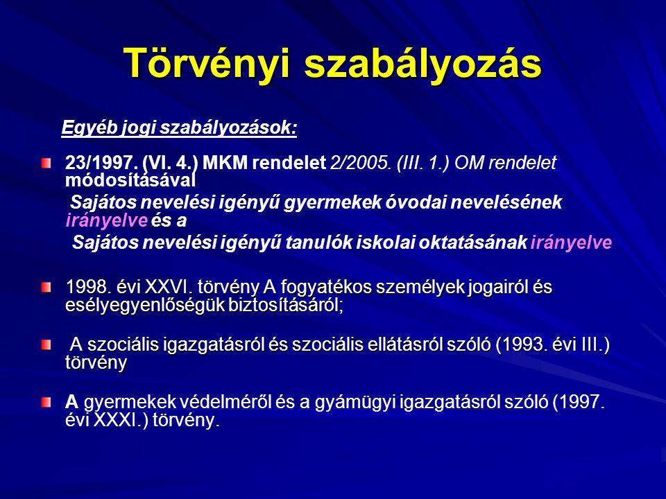 Törvényi szabályozás Egyéb jogi szabályozások: