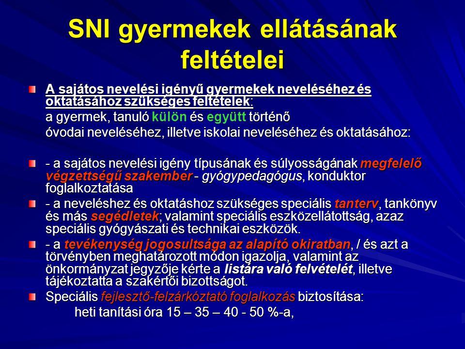 SNI gyermekek ellátásának feltételei