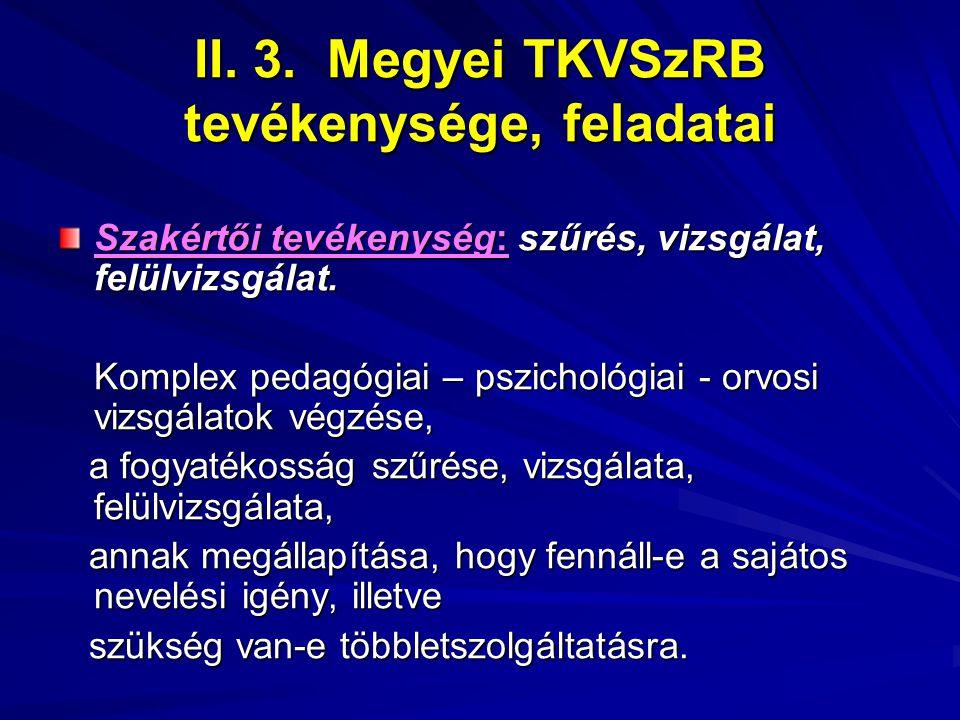 II. 3. Megyei TKVSzRB tevékenysége, feladatai