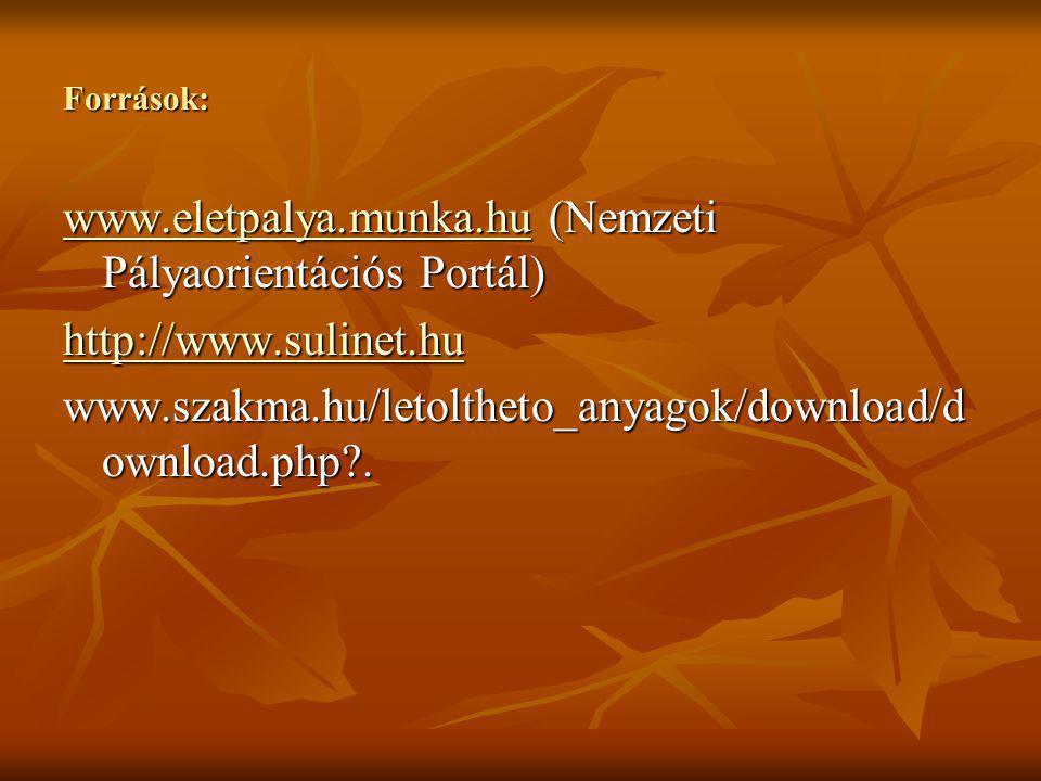 www.eletpalya.munka.hu (Nemzeti Pályaorientációs Portál)
