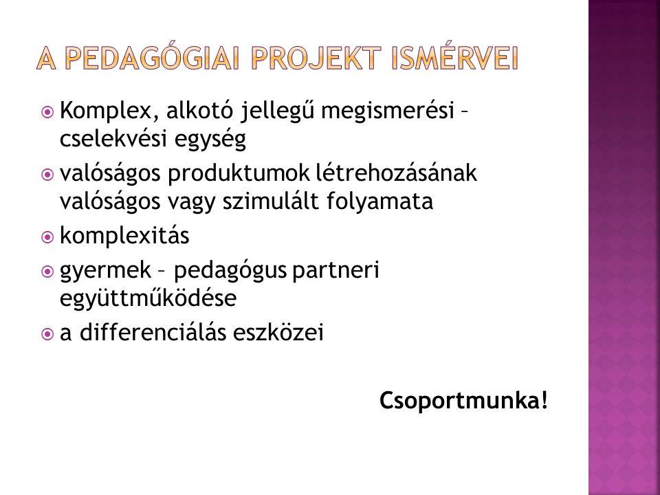A pedagógiai projekt ismérvei