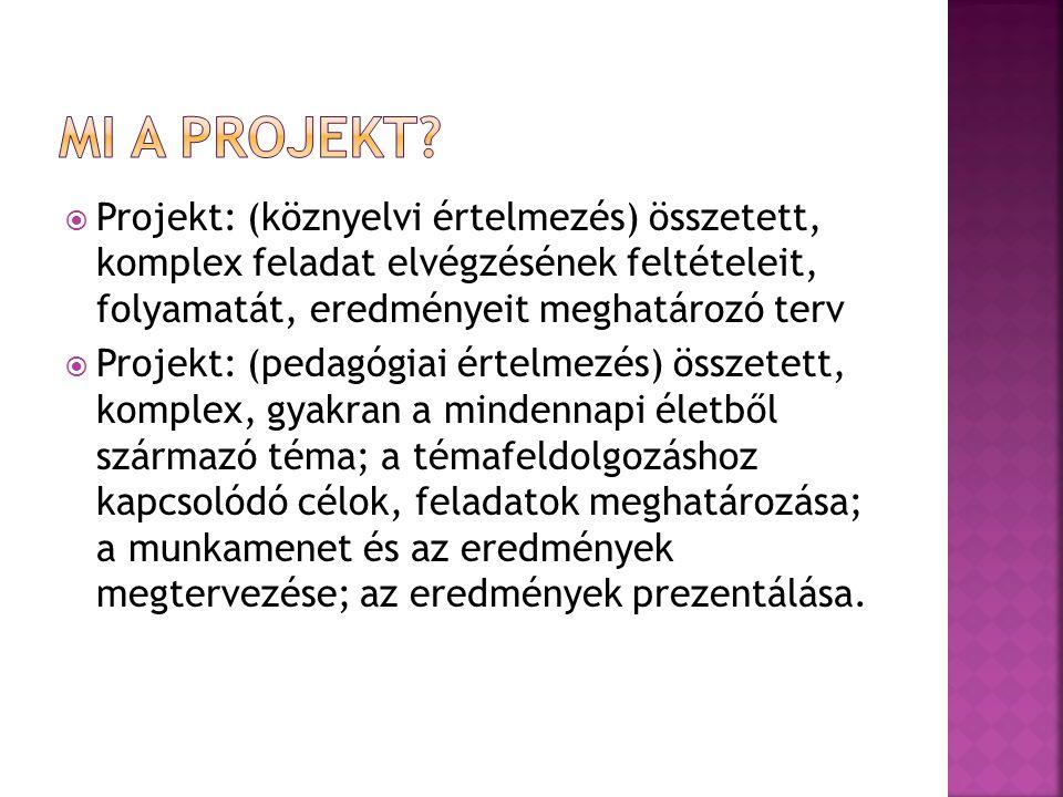 Mi a projekt Projekt: (köznyelvi értelmezés) összetett, komplex feladat elvégzésének feltételeit, folyamatát, eredményeit meghatározó terv.