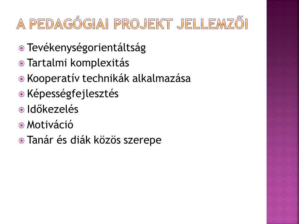 A pedagógiai projekt jellemzői