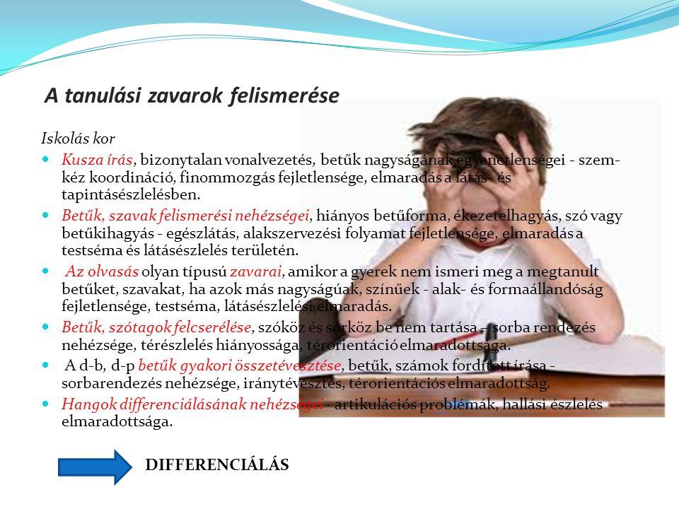 A tanulási zavarok felismerése