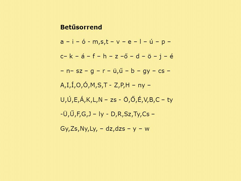 Betűsorrend a – i – ó - m,s,t – v – e – l – ú – p – c– k – á – f – h – z –ő – d – ö – j – é. – n– sz – g – r – ü,ű – b – gy – cs –