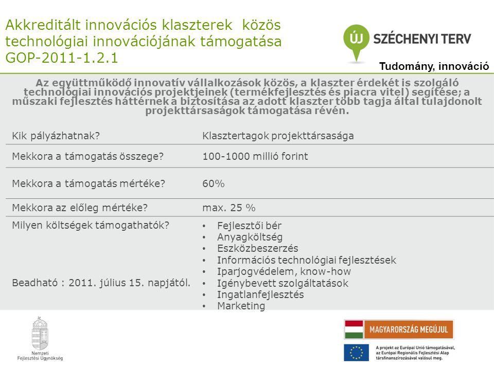 Akkreditált innovációs klaszterek közös technológiai innovációjának támogatása GOP-2011-1.2.1