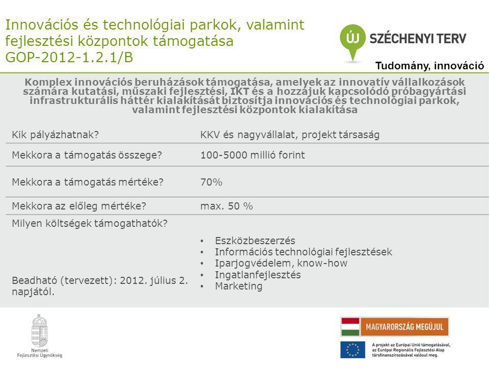 Innovációs és technológiai parkok, valamint fejlesztési központok támogatása GOP-2012-1.2.1/B