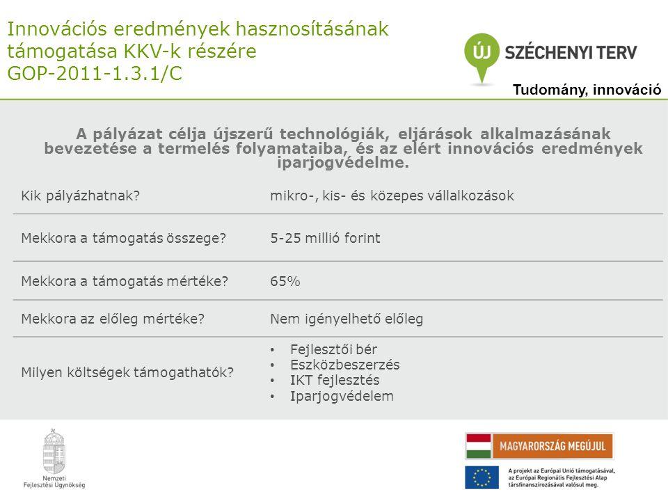 Innovációs eredmények hasznosításának támogatása KKV-k részére GOP-2011-1.3.1/C