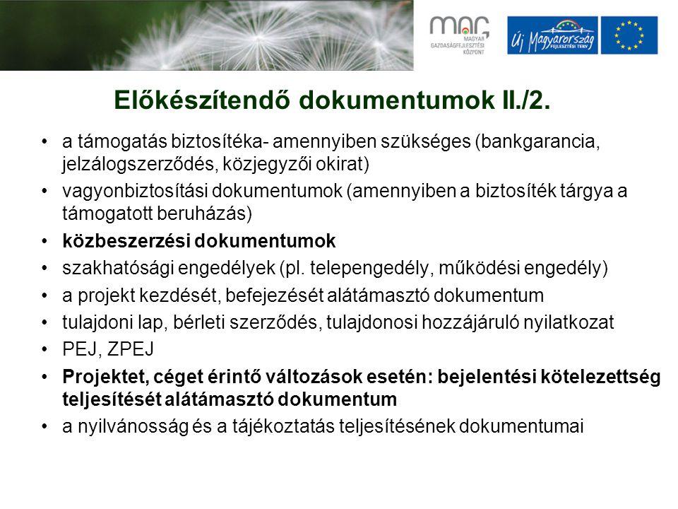 Előkészítendő dokumentumok II./2.