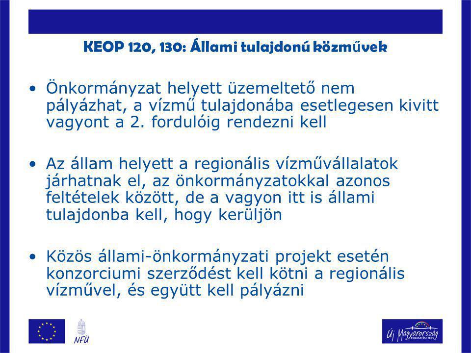 KEOP 120, 130: Állami tulajdonú közművek