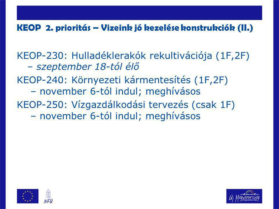 KEOP 2. prioritás – Vizeink jó kezelése konstrukciók (II.)