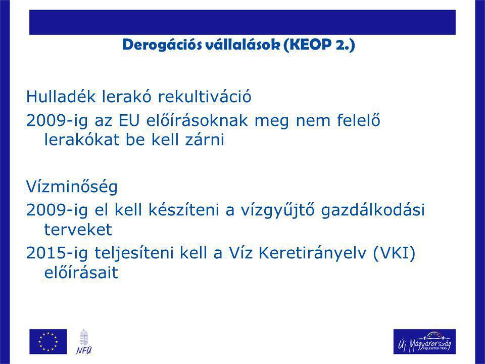 Derogációs vállalások (KEOP 2.)