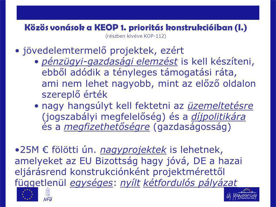Közös vonások a KEOP 1. prioritás konstrukcióiban (I.)