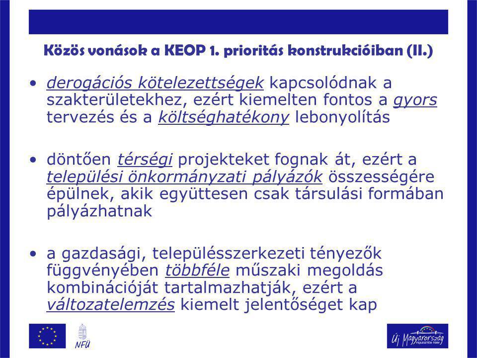 Közös vonások a KEOP 1. prioritás konstrukcióiban (II.)
