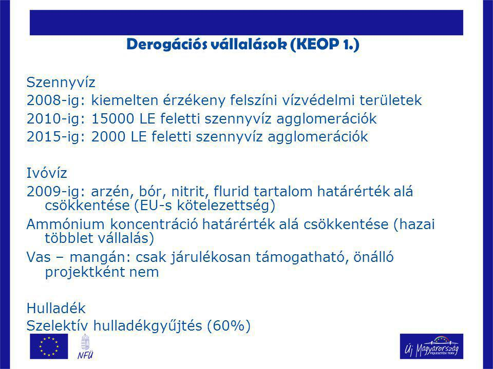 Derogációs vállalások (KEOP 1.)