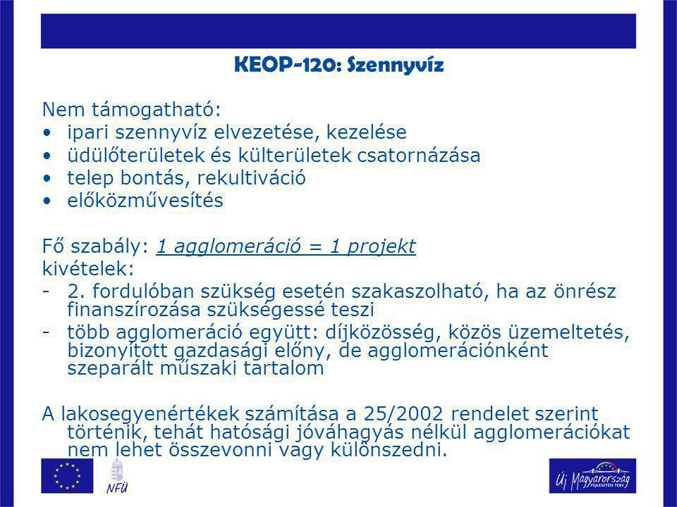 KEOP-120: Szennyvíz Nem támogatható: